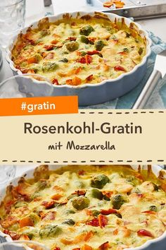 Vegetable gratin without meat: Brussels sprouts mozzarella gratin is a delicious vegetarian recipe. Mozzarella, Lacto Vegetarian Diet, Vegetarian Recipes, Lasagna With Ricotta, Easy Summer Dinners, Healthy Summer Recipes, Dried Beans, Winter Food, Carne