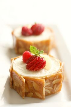 caramel and pear mousse cake--i don't know what those almond(ish) squares are but i need to make thos!