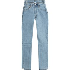 Vetements Reworked Straight-Leg Jeans (€1.045) ❤ liked on Polyvore featuring jeans, pants, bottoms, denim, blue, slim tapered jeans, blue jeans, tapered jeans, slim fit straight leg jeans and high rise jeans