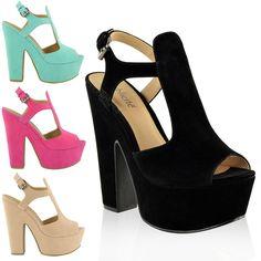 Women Platform High Heels Cut Out Summer Sandals Wedges Shoes Size #BuffShoes #StrappyAnkleStraps #EveningSmartPartyPromWeddingClubFormal