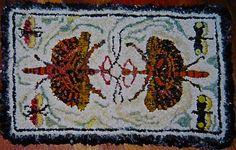 Walking Stick Primitive Hooked Rug in Wool