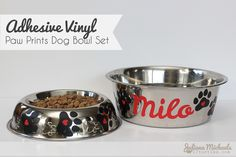 Paw Prints Dog Bowl Set and Free Cut File from 17 Turtles  http://www.17turtles.com/2014/03/paw-prints-dog-bowl-set-and-free-cut.html