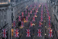The Union Flags are hung along Regent Street in London in celebration of the forthcoming royal wedding between Prince William and Kate Middleton. Regent Street, Oxford Street, Dear World, Union Flags, Uk Flag, Isabel Ii, Prince William And Kate, Save The Queen, English Style