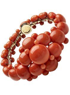 Mid Victorian Coral Button Bracelet