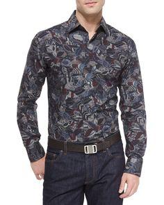 Salvatore Ferragamo Feather-Print Woven Sport Shirt, Multicolor, Men's, Size: XL, Multi