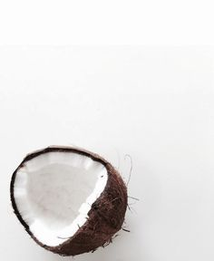 Food and fruit photography. White background and minimal coconut on the corner.