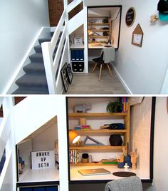 Before + After - An unused space beneath the stairs was transformed into a modern homework station for a child. Staircase Frames, Staircases, Homework Station, Small Doors, Flat Ideas, Australian Homes, Design Blog, Under Stairs, Dream Decor