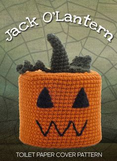 """""""JACK O'LANTERN"""" CROCHETED TOILET PAPER COVER ♦ Pattern in """"Amigurumi Toilet Paper Covers: Cute Crocheted Animals, Flowers, Food, Holiday Decor and More"""" by Linda Wright. http://amazon.com/dp/0980092361/ A cute way to put some boo in the loo for Halloween."""