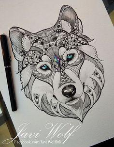 Эскиз волка с орнаментами