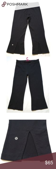"""Lululemon Women Leggings Pants Crop Capris 0409 LULULEMON ATHLETICA Women Crop Capris Leggings Pants  Gently used, no flaws.  Rip out tag is still attached, but has some wear from washing and use.   Size 6 (see photos for more measurements). Approx. measurements laying flat Waist: 13"""" Front Rise:  9"""" Inseam:  19""""  - Hot pink drawstring in the inside and elastic waist band. - Reflective logo on back of left leg. - Back slits by leg openings.  SKU 0409/25/CLE1 lululemon athletica Pants…"""