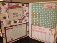 DIY Altering a Compistion Notebook to A Recipe Book Part 3 final Homemade Recipe Books, Scrapbook Recipe Book, Altered Composition Notebooks, Family Recipe Book, Family Recipes, Recipe Folder, Cookbook Template, Mini Photo Albums, Thing 1