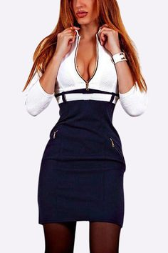Sexy V Neck Zipper Design Long Sleeves Plunging Dress
