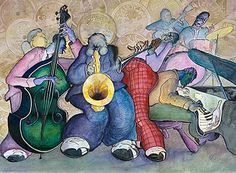 Jazz Art - watercolor and ink by Rich Sigberman