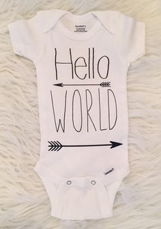 Baby Boy Onesie Hello World Onesie For Baby Boys by BellaPiccoli