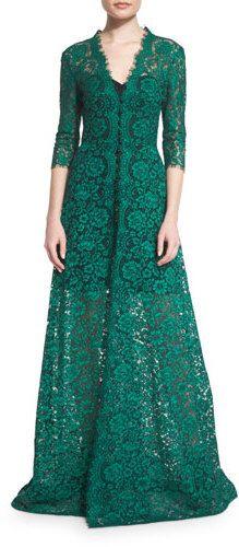 Carolina Herrera 3/4-Sleeve Floral-Lace Gown, Black/Green