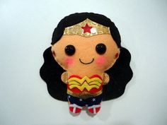 Wonder Woman felt plush doll in a kawaii style - use as pin, necklace, keychain, magnet or Christmas ornament ( your choice ). $9.90, via Etsy.