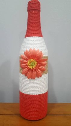 Decorated Wine Bottle - red, tan and white striped with flower, upcycled wine bottle, home decor, wi Wine Bottle Flowers, Wine Bottle Art, Painted Wine Bottles, Wine Bottle Centerpieces, Vases, Wrapped Wine Bottles, Glass Bottle Crafts, Wine Craft, Bottle Painting