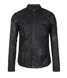 Ruin Leather Shirt, Men, New, AllSaints Spitalfields