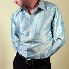 724018acacfee Look cool like the Indian Ocean in this blue silk men shirt. This unusual  fabric. Shubrah
