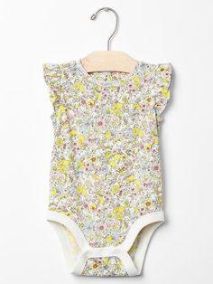 Floral lemon flutter bodysuit