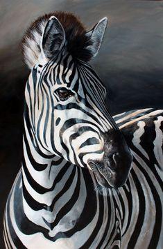 Rietvlei Zebra  © Elize Bezuidenhout  Acrylics on canvas. 915x610mm