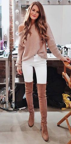 fashion trends | nude sweater white skinnies over knee boots