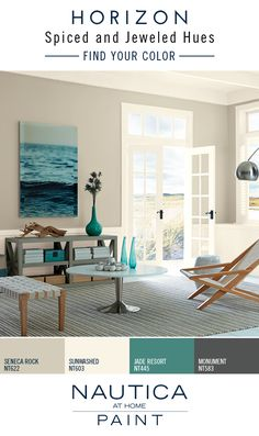 Designer Color Tip: Repeat colors throughout the space for a cohesive flow. Liven up a neutral paint color with sophisticated decor pieces in bold hues. Browse the Nautica at Home Horizon paint color collection for paint color inspiration pairing rich jeweled tones and sophisticated neutrals.