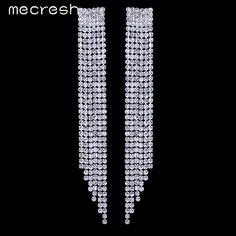 Mecresh Rhinestone Long Tassel Earrings Silver Plated Crystal Bridal Wedding Jewelry boucle d'oreille femme for Women EH424