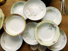 Mismatched China Dessert Bowls by LittleDixieVintage on Etsy