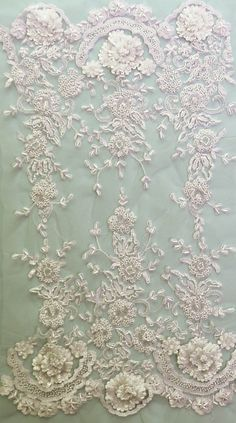 Ivory beaded lace trim - French lace - couture beading - finest quality - Salma - priced per yard Beaded Lace, Crochet Lace, Couture Beading, Types Of Lace, Velvet Upholstery Fabric, Linens And Lace, Lace Border, Machine Embroidery Patterns, Fabric Manipulation