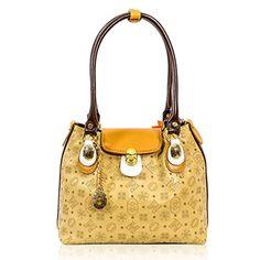 Marino Orlandi Italian Designer Beige Laser Perforated Leather Purse Tote Bag / Handbag
