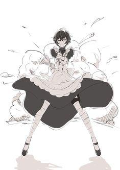 He looks better in a dress than I can. Anime Boys, M Anime, Fanarts Anime, Cute Anime Guys, Maid Outfit Anime, Anime Maid, Dazai Bungou Stray Dogs, Stray Dogs Anime, Dazai Osamu