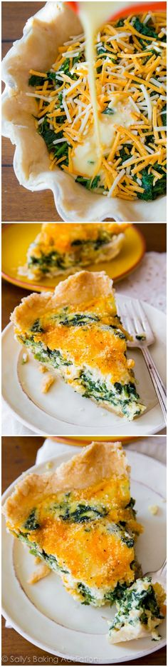 Haven't made a quiche in years! A reader favorite! This super cheesy spinach quiche is baked in my favorite homemade pie crust. Impress all your brunch guests with this recipe! Breakfast Dishes, Breakfast Recipes, Breakfast Quiche, Breakfast Time, Quiches, Vegetarian Recipes, Cooking Recipes, Little Lunch, Sallys Baking Addiction