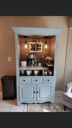 Coffee bar made from a hutch Refurbished Furniture, Repurposed Furniture, Furniture Makeover, Repurposed Items, Coffee Nook, Coffee Bar Home, Coffee Bars, Coffee Bar Design, Coffee Corner