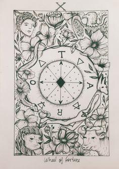 Tarot Wheel of Fortune - Rueda de la Fortuna ✨ insta: conicuri Tattoo Touch Up, Wheel Of Fortune Tarot, Tarrot Cards, Karma Tattoo, Tarot Card Tattoo, Wheel Tattoo, Egypt Tattoo, Rabbit Tattoos, Card Drawing