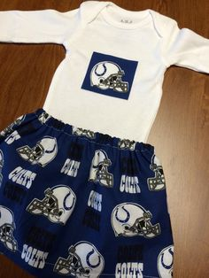 A personal favorite from my Etsy shop https://www.etsy.com/listing/247774947/indianapolis-colts-baby-girl-set
