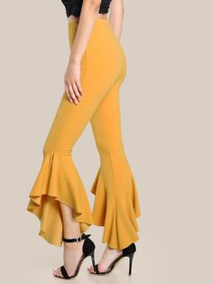 SheIn offers Asymmetric Ruffle Hem Pants & more to fit your fashionable needs. Classy Dress, Classy Outfits, Fashion Pants, Fashion Dresses, Pants For Women, Clothes For Women, Ladies Pants, Indian Gowns Dresses, How To Hem Pants