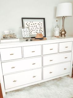 👍 24 white bedroom furniture sets that look comfortable 13 Ikea Diy, Ikea Dresser, White Bedroom Set Furniture, Dresser Decor, Luxurious Bedrooms, Cheap Home Decor, Gold Bedroom Decor, Diy Furniture Cheap, White Dresser Bedroom