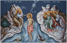 St. John the Baptist and Jesus Orthodox Icon | ... 11; Luke 3:21-22, John 1:32-34, Psalm 2:7; Isaiah 42:1; 2 Peter 1:17