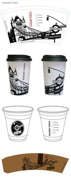 cafe design, paper cup design, london brige, ice cup design, sleeve design, jjplus design