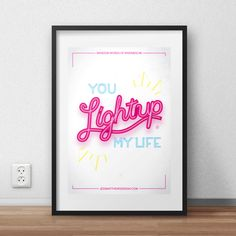 You Light Up My Life (Random Words of Kindness) Typographical Hand Lettered Print by jessmatthewsdesign on Etsy
