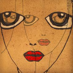 #art # twoface #wineglassheads #redlips #red #eyes #painting #paintonfabric # fabricpainting #browneyes #painting #face #faces #retro