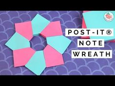 Learn Post-it® Note Crafts! Instead of using origami paper, you can fold an origami wreath (or origami star) with post-it® notes! This origami Post-it® Note . Origami Wreath, Origami And Kirigami, Origami Stars, Origami Paper, Dollar Origami, Money Origami, Gift Wrapping Tutorial, Wrapped Wine Bottles, How To Wrap Flowers