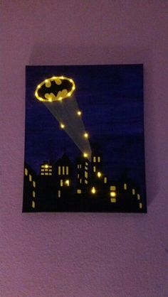 Showcase batman gifts that you can find in the market. Get your batman gifts ideas now. Batman Room, Superhero Room, Batman Bathroom, Batman Crafts, Batman Painting, Art Projects, Projects To Try, Batman Party, Lighted Canvas