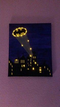 Lighted batman painting.