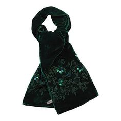 This is quite hard to see but the velvet is an amazing rich emerald green and the hand embroidered and sequinned detail is stunning. Velvet Scarf, Music Images, Green Silk, Emerald Green, Alexander Mcqueen Scarf, Scarves, Detail, Amazing, Photos