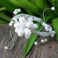 Pearl wrap bracelet, 'Pearl Flower'