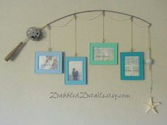 Fishing pole picture frames.. would be cute with beach pics in the frames
