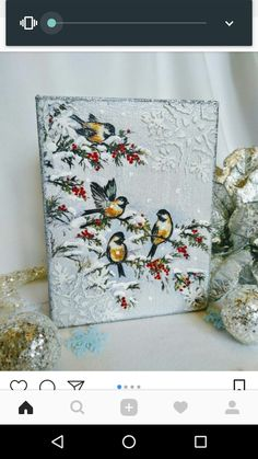 Christmas Decoupage, Christmas Art, Christmas Projects, Christmas Decorations, Christmas Ornaments, 3d Art Painting, Painting Frames, Painting On Wood, Diy And Crafts