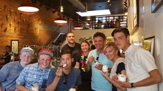 Donny and Debbie Osmond with sons Christopher and Joshua at McConnell's ice cream store in Santa Barbara, CA.